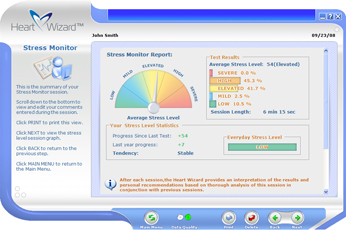 Click to see a larger picture of Stress Monitor report screen